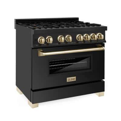 Autograph Edition 36 in. 4.6 cu. ft. Dual Fuel Range in Black Stainless Steel with Gold Accents