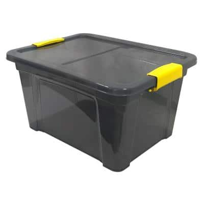 4.75 Gal. Storage Box Translucent in Grey Bin with Yellow with cover