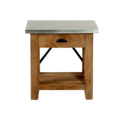 """Millwork 22"""" Wood and Zinc Metal End Table with Drawer"""