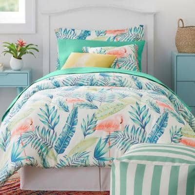 Marisol Tropical Palms Twin/Twin XL Bed in a Bag Comforter Set with Sheets and Decorative Pillows