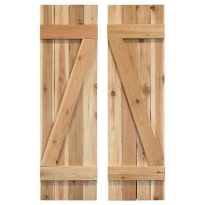 14 in. x 36 in. Wood Z Board and Batten Shutters Pair Unfinished
