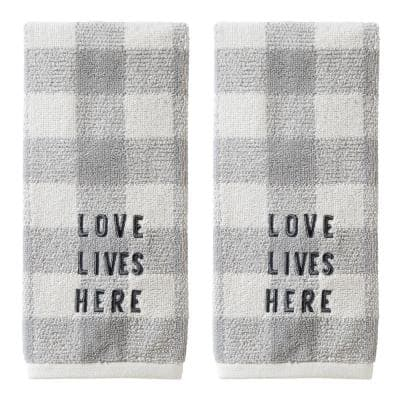 Love Lives Here 100% Cotton 2-Pack Gray Hand Towel