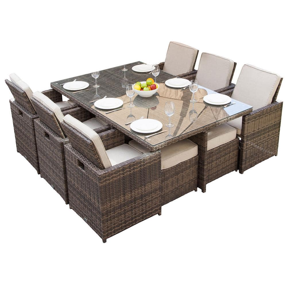 11 Piece Wicker Outdoor Dining Set, 11 Piece Dining Room Set