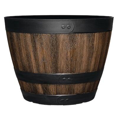 11.33 in. Dia x 8.51 in. H Kentucky Walnut Plastic Wine Barrel