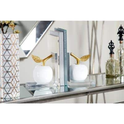 Metallic Gold and White Apple Bookends