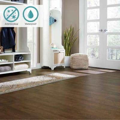 Defense+ 6.14 in. W Tannery Brown Oak Antimicrobial Waterproof Laminate Wood Flooring (16.12 sq. ft./case)