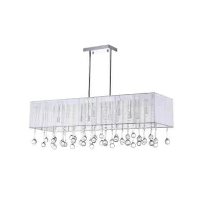 Water Drop 14-Light Chrome Chandelier with White shade