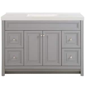 Brinkhill 49 in. W x 22 in. D Bath Vanity in Sterling Gray with Cultured Marble Vanity Top in White with White Sink