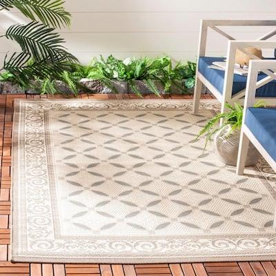 Courtyard Beige/Dark Gray 5 ft. x 8 ft. Border Indoor/Outdoor Area Rug