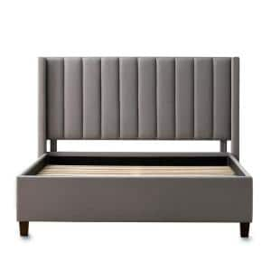 Adele Gray Stone Upholstered Full Platform Bed Frame with a Vertical Channel Tufted Wingback Headboard
