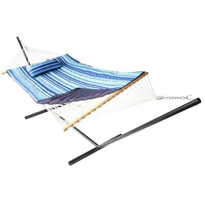 12 ft. Free Standing Stripe Hammock with Cotton and Pillow in Blue
