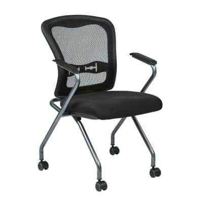 24 in. Width Big and Tall Coal Fabric Guest Office Chair (Set of 2)