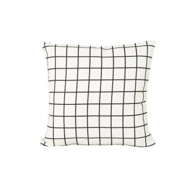 Chadna White and Black Square Outdoor Throw Pillow