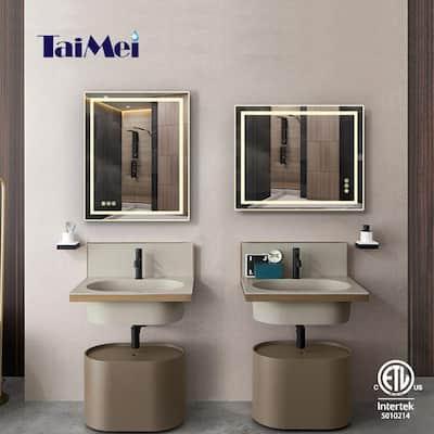 20 in. W x 30 in. H Frameless Beveled LED Single Bathroom Vanity Mirror in Polished Crystal