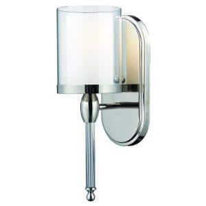 Paula 1-Light Chrome Sconce with Matte Opal and Clear Glass
