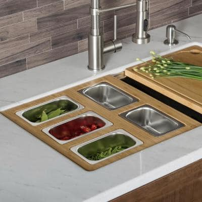 16.75 in. Workstation Kitchen Sink Composite Serving Board Set with Rectangular Stainless Steel Bowls