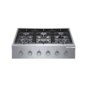 36 in. Gas Cooktop in Stainless Steel with 6-Burners Including 18,000 BTU Burner