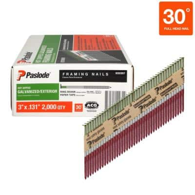 3 in. x 0.131-Gauge 30-Degree Galvanized Ring Shank Paper Tape Framing Nails (2000-Box)