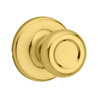 Tylo Polished Brass Passage Hall/Closet Door Knob Featuring Microban Antimicrobial Technology