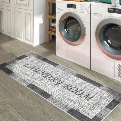 Laundry Room Gray-White 20 in. x 59 in. Cotton Runner Rug