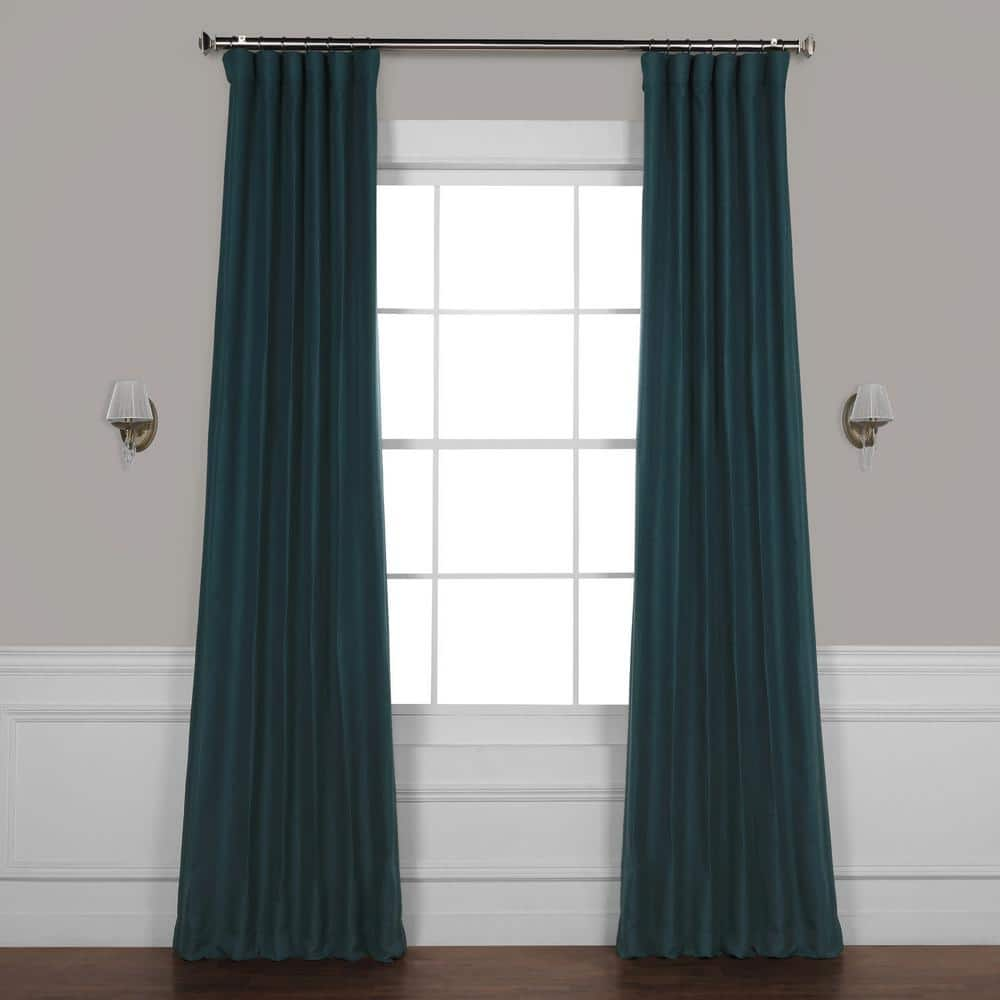 Exclusive Fabrics Furnishings Bayberry Teal Rod Pocket Blackout Curtain 50 In W X 96 In L Boch Pl1807 96 The Home Depot