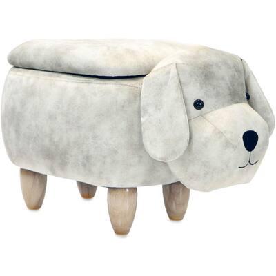 Light Gray Dog Animal Shape Storage Ottoman