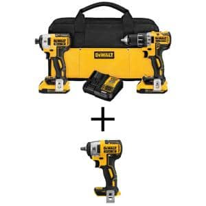 20-Volt MAX XR Cordless Brushless Drill/Impact Combo Kit (2-Tool) with (2) 20-Volt 2.0Ah Batteries & Impact Wrench