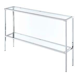 Nadia 48 in. Clear/Chrome Standard Rectangle Glass Console Table with Storage