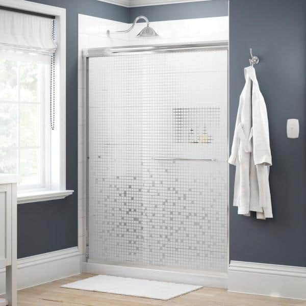 Delta Simplicity 60 In X 70 In Semi Frameless Traditional Sliding Shower Door In Chrome With Mozaic Glass 1118141 The Home Depot
