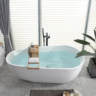 Bayonne 67 in. Acrylic Flatbottom Freestanding Bathtub in White