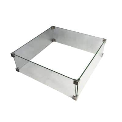 22 in. x 7 in. Square Tempered Glass Wind Screen for Manhattan Outdoor Fire Pit Table with Stainless Steel Clips