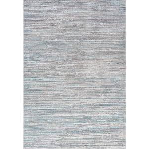 Loom Modern Strie' Gray/Turquoise 8 ft. x 10 ft. Area Rug
