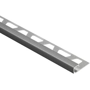 Quadec Pewter Textured Color-Coated Aluminum 1/4 in. x 8 ft. 2-1/2 in. Metal Square Edge Tile Edging Trim