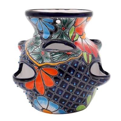 Talavera 6-Pocket Royal Blue Ceramic Strawberry and Herb Pot