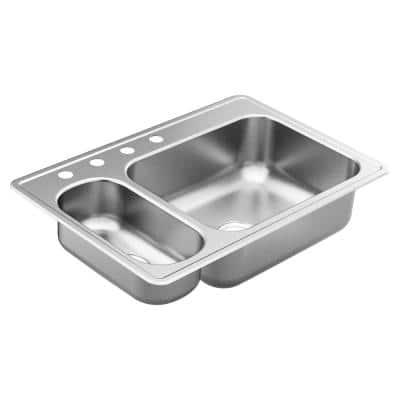 2000 Series Stainless Steel 33 in. 4-Hole Double Bowl Drop-In Kitchen Sink with 6 and 8.5 in. Depth