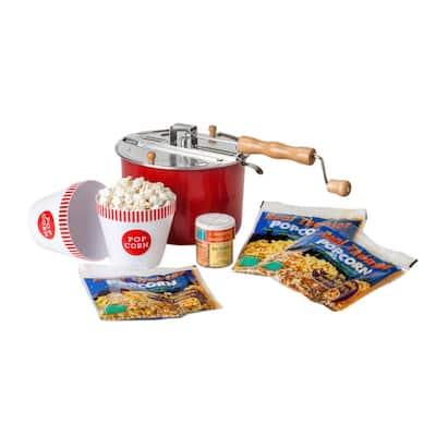 4-Piece Aluminum Multi-Colored Popcorn Popper Set