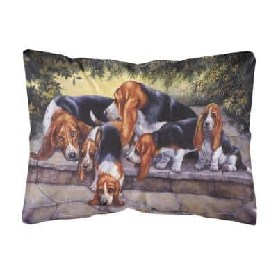 12 in. x 16 in. Multi-Color Lumbar Outdoor Throw Pillow Basset Hound Puppies Momma and Daddy Fabric Decorative Pillow