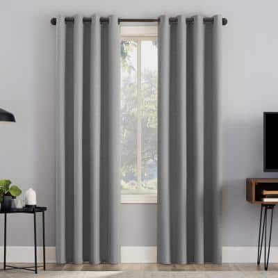 """Channing 50""""W x 84""""L Sterling Grid Texture Draft Shield Fleece Insulated 100% Blackout Grommet Curtain Panel"""
