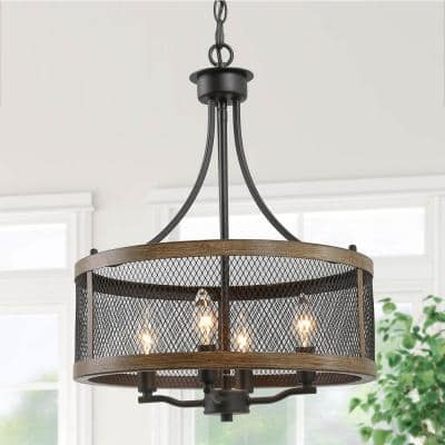 16 in. 4-Light Modern Farmhouse Black Pendant Drum Candlestick Cage Chandelier with Faux Wood Accent