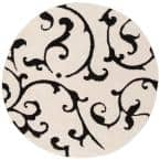 Florida Shag Ivory/Black 6 ft. 7 in. x 6 ft. 7 in. Round Area Rug