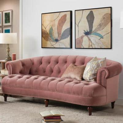 La Rosa 85 in. Ash Rose Velvet 3-Seater Chesterfield Sofa with Nailheads
