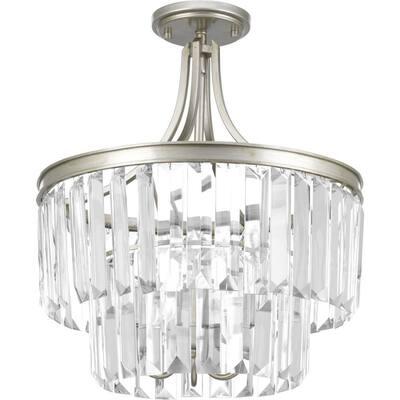 Glimmer Collection 3-Light Silver Ridge Semi-Flush Mount