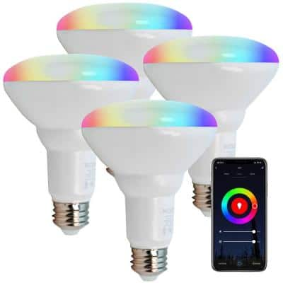 11W(75W Equivalent) BR30 E26 Smart WiFi Dimmable LED Light Bulb White and Color Ambiance 900LM RGB+W Multi Color(4-Pack)