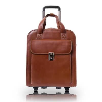 Siamod Pastenello Napa Cashmere Cognac Leather 15 in. Vertical Patented Detachable -Wheeled Laptop Briefcase