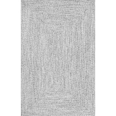 Lefebvre Casual Braided Salt & Pepper 2 ft. x 3 ft. Indoor/Outdoor Area Rug