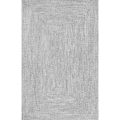 Lefebvre Casual Braided Salt & Pepper 3 ft. x 5 ft. Indoor/Outdoor Area Rug