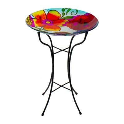 18 in. Multi-Colored Hand Painted Glass Floral Pattern Outdoor Patio Bird Bath