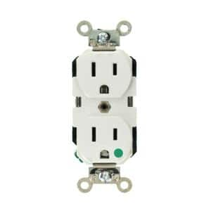 15 Amp Hospital Grade Extra Heavy Duty Self Grounding Duplex Outlet, White