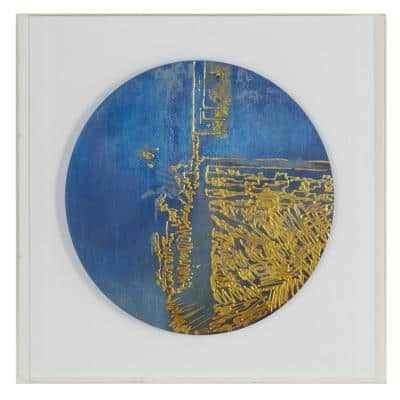 Large Contemporary Blue and Gold Abstract Art Shadow Box, 23.6 in. x 23.6 in.