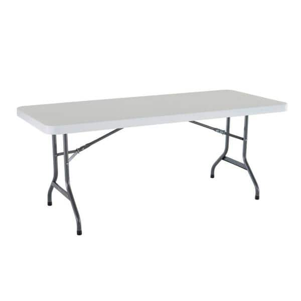 Lifetime 72 In White Plastic Portable Folding Banquet Table 22901 The Home Depot